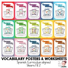 """15 sets of colour posters and worksheets that you can also buy separately in my store.   These posters depict the """"Key target vocabulary"""" for years 1 and 2 in the Primary Education Stage in Spain (RD126/2014)."""