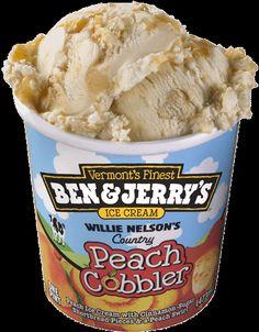Ben & Jerry's Willie Nelson's Country Peach Cobbler Ice Cream Ice Cream Flavors List, Ben And Jerrys Ice Cream, Healthy Cookies, Frozen Treats, Frozen Yogurt, Cobbler, Sweet Tooth, Peach, Desserts