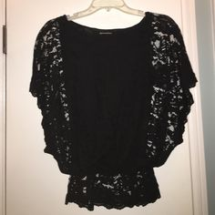 Black Lace top Black lace top with black tank lining. Cinched at the waist. Quo•ta•tion - Bloomingdale's Tops