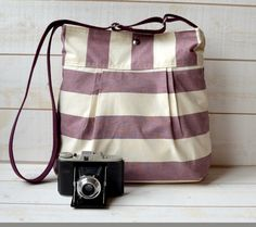 Waterproof STOCKHOLM Diaper bag Grapes and Ecru Pleated French Messenger - COTON Water Resistant -8 Pockets