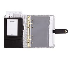TEXTURED LEATHER PERSONAL PLANNER MEDIUM: BLACK
