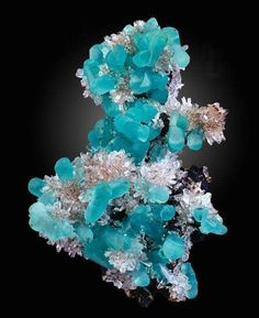 Smithsonite and Hemimorphite - Namibia minerals Minerals And Gemstones, Rocks And Minerals, Natural Crystals, Stones And Crystals, Gem Stones, Expo Paris, Pierre Turquoise, Rock Collection, Beautiful Rocks