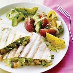 Surf and Garden Quesadillas with Avocado Salad - Best Summer Squash & Zucchini Recipes - Sunset Mobile Quesadillas, Vegetarian Recipes, Healthy Recipes, Fish Recipes, Yummy Recipes, Avocado Salad Recipes, Salad Ingredients, Fun Cooking, Main Dishes