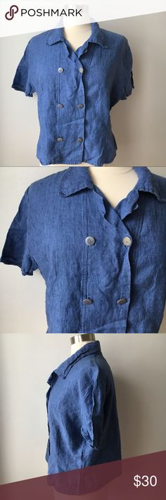 89f99f6529 FLAX by Jeanne Engelhart Short Sleeve Top FLAX by Jeanne Engelhart Linen  Short Sleeve Top Medium