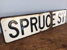 Vintage Metal Street Sign, Spruce St, Street, Original, White/Black, Chippy/Rusty by eddysmercantile on Etsy