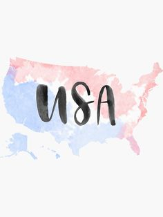 """""""USA Country Watercolour"""" Sticker by alongcamekathy Instagram Frame, Instagram Logo, Instagram Story Ideas, Patriotic Wallpaper, 4th Of July Wallpaper, Travel Icon, Travel Logo, Usa Travel, London Drawing"""