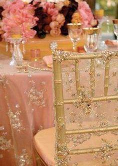 Gold Chiavari chairs with silk beaded chair cover, blush silk table cloth, beaded overlay