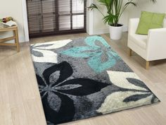 Floral Grey with Turquoise Indoor Bedroom Shag Area Rug - Rug Addiction