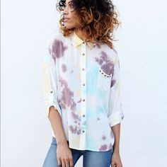Tie Dye Stud Shirt This tie dye shirt features a front pocket with studs on it! The material is extremely soft and comfortable! It comes in sizes Small, Medium, and Large #nwt Cecil Lee Tops