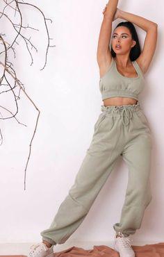Sage Oversized Sleeveless Crop Top & Drawstring Waist Joggers Co-ord | Loungewear Sets | Femme Luxe UK | Femme Luxe UK 2021 Sleeveless Crop Top, Co Ord, Off Duty, Drawstring Waist, Parachute Pants, Joggers, Comfy, Legs, Crop Tops