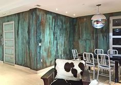 Incredible Patina Wall by Heather Jozak Studios | Beautiful Interior Design by Robert Jenny Design |Modern Masters Metal Effects | Modern Mastery Studio Feature