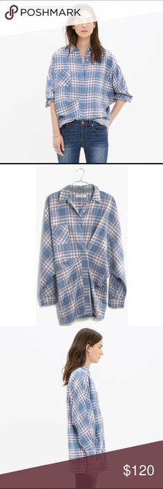 Madewell Rivet & thread tiltcatch plaid flannel PRODUCT DETAILS $165 sold out  Limited edition, small batch and exclusively ours, Rivet & Thread designs are future keepsakes crafted from top-of-the-line fabrics. Take this superspecial Japanese flannel shirt, for example: It has cool asymmetrical tucks for a whole new silhouette.    True to size. Cotton. Machine wash. Import. Item B6266. Madewell Tops Button Down Shirts