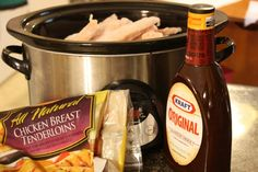 Slow cooker BBQ chicken for frozen chicken.. so easy! I'd replace that kraft with sweet baby rays of course