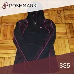 UNDEARMOUR COLD GEAR Womens Underarmour Cold Gear / Size Small / Great for running and layering. Black with dark pink magenta designs. Under Armour Tops