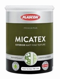 Plascon Micatex is a Weathertough™ premium quality, extremely durable UV-resistant water-based paint coating with a fine texture.