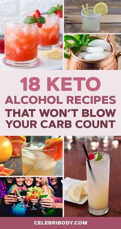 18 Keto Alcohol Recipes That Won't Blow Your Carb Count Keto drinks don't have to be boring! We've rounded up the best keto alcohol recipes that'll keep you low carb and satisfied this weekend (or anytime! Easy Mixed Drinks, Mixed Drinks Alcohol, Alcohol Drink Recipes, Mixed Drinks With Rum, Low Carb Mixed Drinks, Party Drinks Alcohol, Keto Foods, Keto Snacks, Keto Recipes