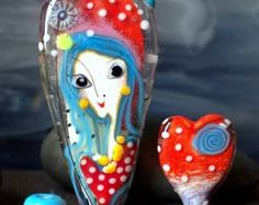 Jasmin Franse 'POLKATIME' lampwork focal kunst kraal Glazenset
