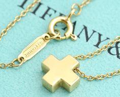 "TIFFANY&Co Roman Mini Cross Necklace 16"" 18k Yellow Gold #1932   Jewelry & Watches, Fine Jewelry, Fine Necklaces & Pendants   eBay!"
