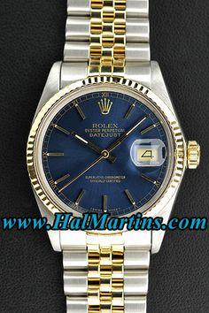 #Rolex Datejust 16013 with Blue Index Dial, $2,500.00.     http://www.halmartins.com/men-watches/rolex-datejust-1     #rolexwatches     #rolexdatejust