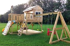 If you're looking for your own backyard playground for your child, the Playground Playhouse Plan is the ticket. Backyard Playhouse, Build A Playhouse, Wooden Playhouse, Kids Playhouse Plans, Toddler Playground, Diy Playground, Outside Playground, Backyard For Kids, Diy Pergola
