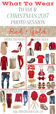 Wondering what to dress yourself and your family in for your Christmas photos? Click here to see the festive palettes I picked for you! Family | Couple | Kids | Baby | Maternity | Outfits | Red + Gold