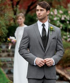 For a classic look with an updated fit, the Grey Dillon suit is a versatile choice. Tailored in worsted wool, it offers a slim fit design and a. Grey Tuxedo, Tuxedo Suit, Women Tuxedo, Gray Tux, Build A Tux, Wedding Suit Styles, Wedding Attire, Mens Grey Wedding Suits, Wedding Outfits
