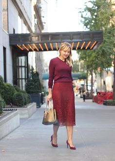 The Steele Maiden: Office holiday style in wine-hued separates - lace midi skirt, burgundy sweater and suede pumps