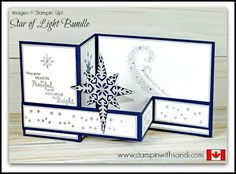 Canadian Stampin Up Demonstrator Sandi MacIver shares a new Stampin Up Video Star of Light Double Z Card for this weeks You Tube Tuesday share. Z Cards, Star Cards, Fun Fold Cards, Cool Cards, Folded Cards, Joy Fold Card, Baby Cards, Homemade Christmas Cards, Christmas Cards To Make