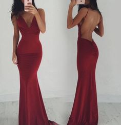 Red Sexy Spaghetti Straps Backless Stretch Satin Prom…