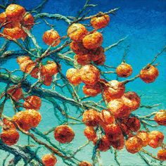 Oh Chi-Gyun (Taiwanese, b. 1956), Persimmons, 2012. Acrylic on canvas, 60 x 60 cm.