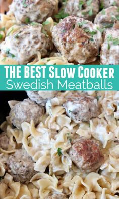 Seriously AMAZING Swedish Meatballs are so easy to make in a slow cooker! This recipe was passed down from my mother in law & the sauce is to-die-for! The combination of ground pork and beef is key to Crockpot Sweedish Meatballs, Crock Pot Meatballs, Beef And Noodles Crockpot, Homemade Meatballs Crockpot, Jelly Meatballs, Pork Recipes, Cooker Recipes, Crockpot Recipes, Recipies