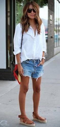 stylish look | white shirt + bag + sandals + shorts