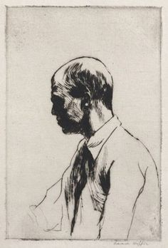 """Edward Hopper self-portrait. 1928. From """"100 Self-Portrait Drawings from 1484 to Today"""""""