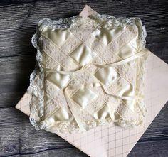 Vintage ring bearer pillow, wedding pillow, white satin lace ring bearer pillow, ring pillow, Vintage pillow, vintage wedding accessories by TheHappyStorkShop on Etsy https://www.etsy.com/listing/517834156/vintage-ring-bearer-pillow-wedding