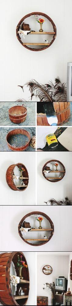 DIY Circle Shelf from old barrel