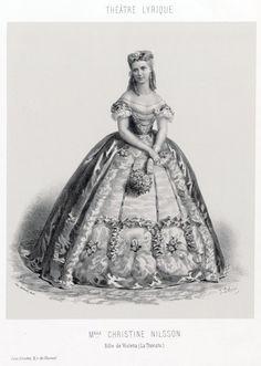 "Swedish opera singer Christine Nilsson as Violetta in Verdi's ""La Traviata"" (circa 1864). Nilsson was also inspiration for character Christine Daae in Gaston Leroux's ""Phantom Of The Opera."""
