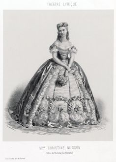 "Swedish opera singer Christine Nilsson as Violetta in Verdi's ""La Traviata"" (circa 1864). Nilsson was also inspiration for character Christine Daae in Gaston Leroux's ""Phantom Of The Opera."""
