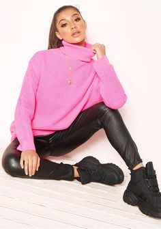 134d7cd757287 Harper Neon Pink Knit Roll Neck Jumper