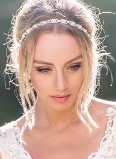 Ivory Pearl Silver Crystal Bridal Headband Wedding Headpiece Bridal Headpiece Ribbon Headband Hair Accessories