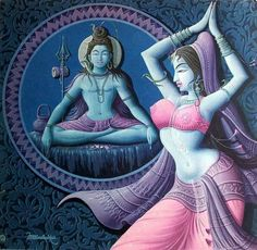 Goddess Parvati dancing a Cosmic Dance for Lord Shiva