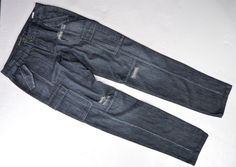 Michael Kors Dark Wash Distressed Denim Jeans Size 6 33x33 Cargo Pockets Skinny #MichaelKors #CargoSlimSkinny