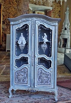 Glass Painted Blue Armoire 1:12 Dollhouse by MaritzaMiniatures