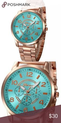 STUNNING WOMENS ROSEGOLD LUXURY QUARTZ WATCH GENEVA PLATINUM ROSEGOLD QUARTZ WATCH FOR WOMEN WITH TURQUOISE FACE. Feature:  100% brand new and high quality.  Quantity: 1  Gender:Women  Style: Casual  Movement: Quartz  Display: Analog  Band Material: Stainless Steel  Case Material: Alloy  Dial Window Material Type: Glass  Dial Material Type: Alloy  Clasp Type: Hook Buckle  Life Waterproof  Watch case Diameter:41mm  Band Length:180mm  Thickness: 8.5mm  Band Width:12mm Geneva Platinum…