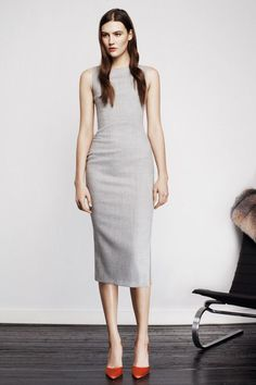 Altuzarra | Pre-Fall 2014 Collection grey sheath dress and red-orange  pumps  <a href='\/search?q=minimalist' class='pintag' title='#minimalist search Pinterest' rel='nofollow'>#minimalist<\/a> <a href='\/explore\/fashion' class='pintag' title='#fashion explore Pinterest'>#fashion<\/a> <a href='\/search?q=style' class='pintag' title='#style search Pinterest' rel='nofollow'>#style<\/a>
