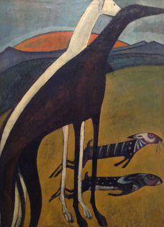 'Os galgos' (Greyhounds) (1911) by Portuguese artist Amadeo de Souza Cardoso (1887-1918). Oil on canvas, 100 x 73 cm. collection: Centro de Arte Moderna – Fundação Calouste Gulbenkian, Lisbon. via art in the periphery