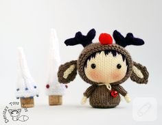 Items similar to Christmas Deer Doll. Toy from the Tanoshi series. - knitting pattern (knitted in the round) on Etsy Christmas Knitting Patterns, Crochet Patterns, Kawaii, Diy Crochet Projects, Chibi, Christmas Deer, Xmas, Amigurumi Doll, Crochet Dolls