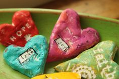 """paper clay hearts with messages  """"THIS would also be so fun as a christmas gift. Make 20 or 30  differ nt hearts and put them in a small Pint size canning jar and put a note and ribbon attached to the jar that reads  """"when you are having one of those """"days"""", and I can't be there to help or lend you a hand or shoulder to cry on... take what you need from the jar and know I love you and will ALWAYS be there in spirit!"""" i love you! xoxox"""""""