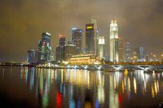 Singapore skyline aerial.