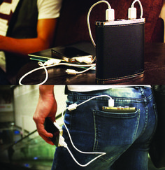 PowerFlask Charger --   13000 mAh $95 -- PowerFlask comes with 2 30-pin iPad/iPhone connectors, a USB-to-Micro-USB charging cable, a USB-to-Dual-Micro-USB-charging cable and a USB power adaptor.