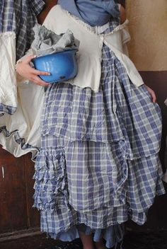 French country dress...THE FABRIC would be ideal for my idea for a French Country bedroom in blues/yellows/white????